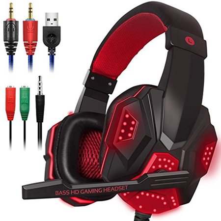 SKD® Gaming Headset with Mic and LED Light for Laptop Computer 3.5mm Wired Noise Isolation Volume Control Gaming Headphone - image 1 de 2