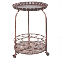 Pop Wine and Serving Cart, Antique Copper - 17 x 17 x 25.5 in.