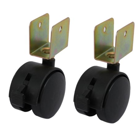 2pcs 1.8-inch Dia Wheel 20mm U Bracket Swivel Brake Caster Black - image 3 of 3