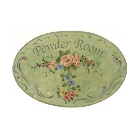 Green with Flowers Powder Room Oval Bath Plaque