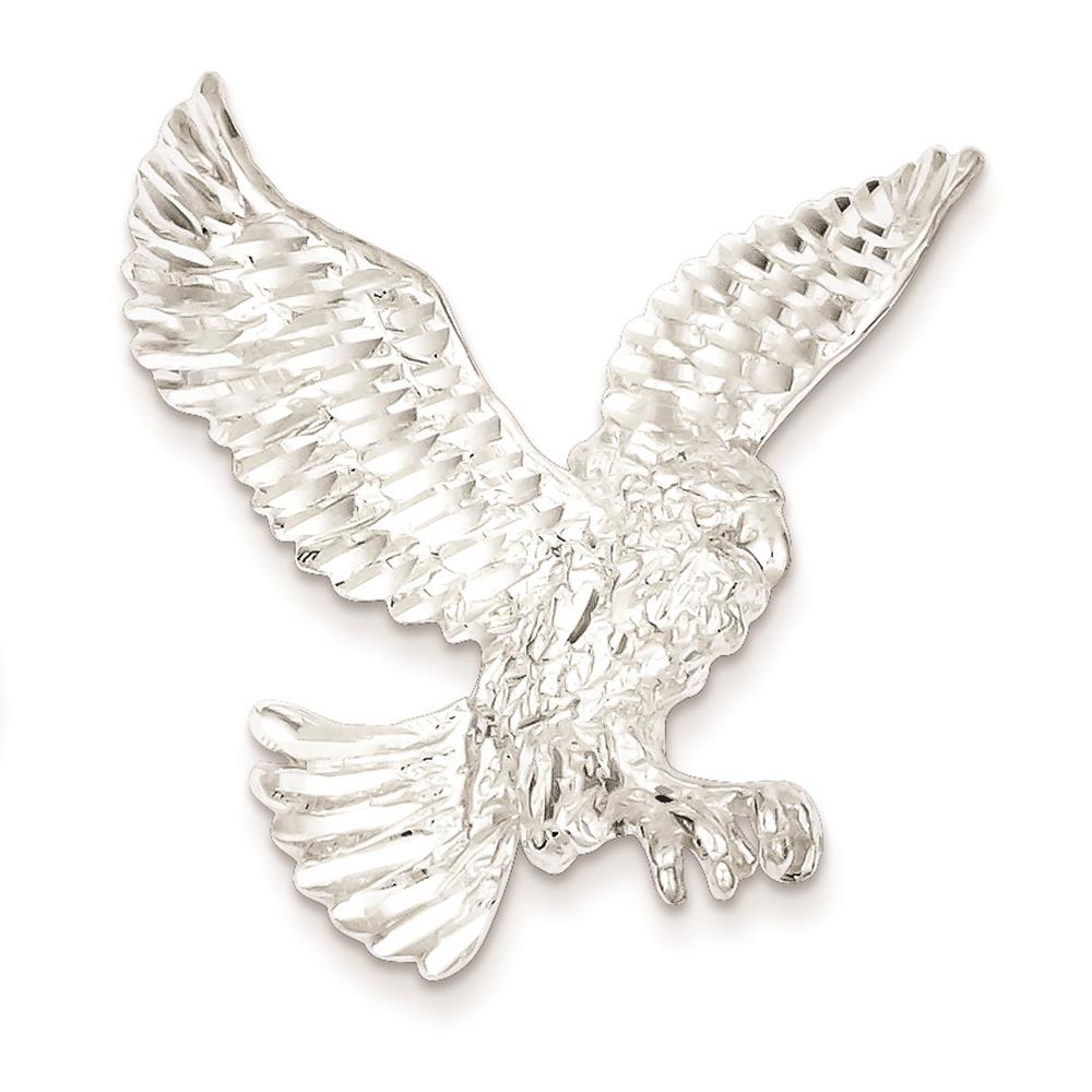 925 Sterling Silver Eagle Polished Diamond-cut Solid Charm Pendant