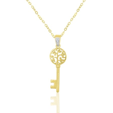 10 Karat Yellow Gold Crystal Bail Key Pendant (Gold Key Pendant)