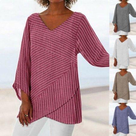 Women Casual Loose Cotton Linen Striped Long Sleeve Long Shirt Blouse Tunic Tops Cashmere Cotton Tunic