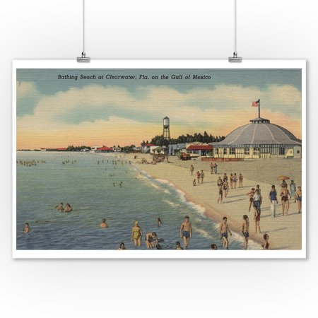 Clearwater  Fl   Swimmers   Sunbathers On Beach  9X12 Art Print  Wall Decor Travel Poster