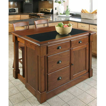 Home Styles Aspen Kitchen Island with Hidden Drop Leaf Support and Granite