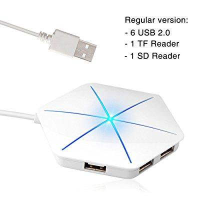 topmate ultra slim hub 6-port usb 2.0? one tf one sd card reader?1m?