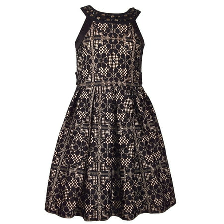 239685bdb6b4ec Bonnie Jean Big Girl s 7-16 Black Sleeveless Bonded Lace Party Dress