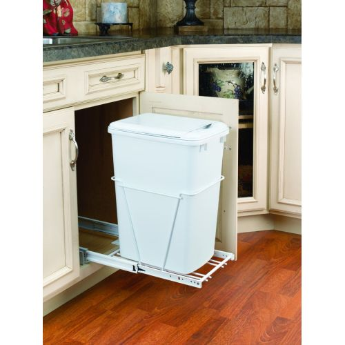Rev-A-Shelf RV-12PB-L RV Series Bottom Mount Single Bin Trash Can with Lid and 3/4 Extension Slides - 35 Quart Capacity