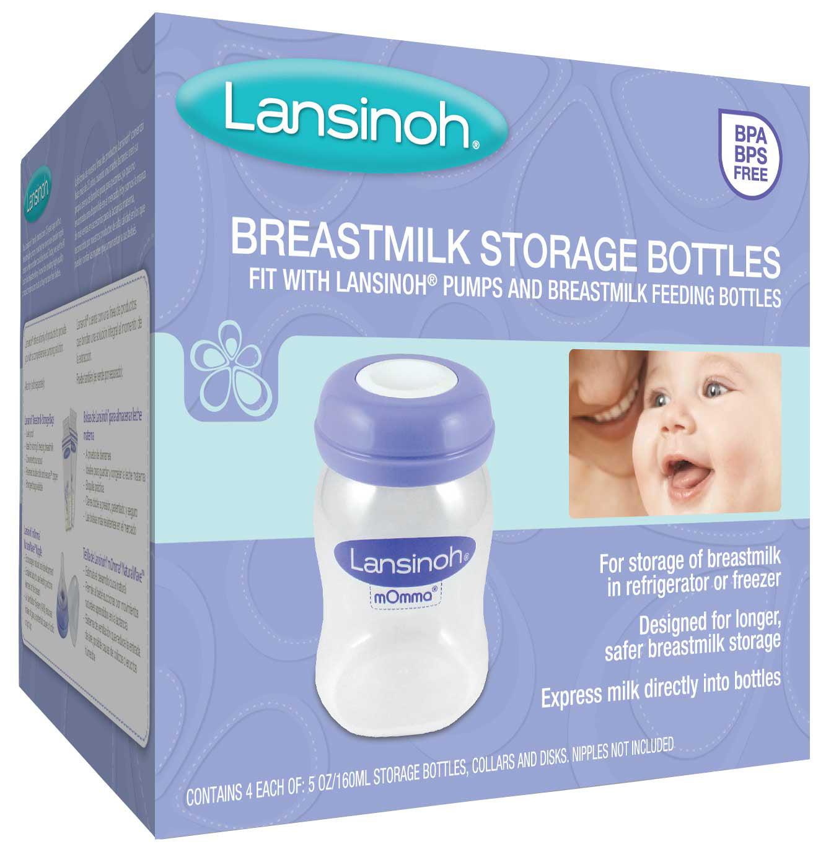 Lansinoh Breastmilk Storage Bottles, 4 count