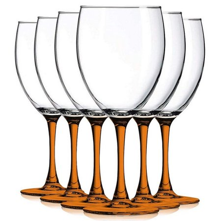 Orange Nuance Wine Glassware Beautiful Colored Stem Accent 10 oz. Set of 6- Additional Vibrant Colors Available TableTop King - Orange Martini Glasses