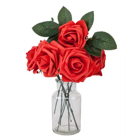 25pcs Artificial Flower PE Foam Rose Flower Single Stems Artificial Roses, Red Fake Real Looking Roses Flowers DIY Wedding Party Hotel Restaurant Patio Yard