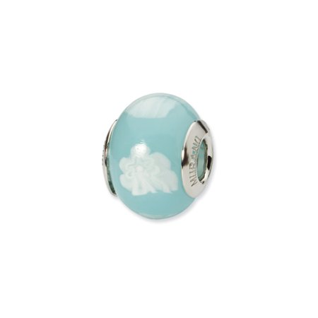 Lt Blue/White Italian Murano Glass Bead & Sterling Silver Charm, 14mm