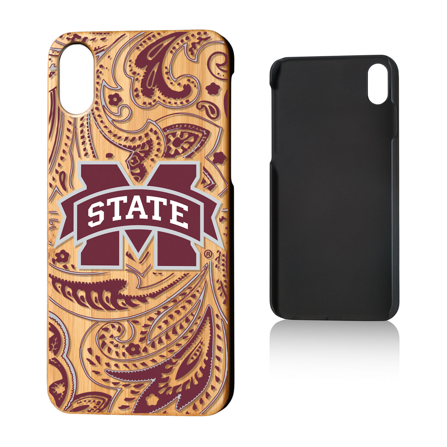 MS Mississippi State Bulldogs Paisley Bamboo Case for iPhone X