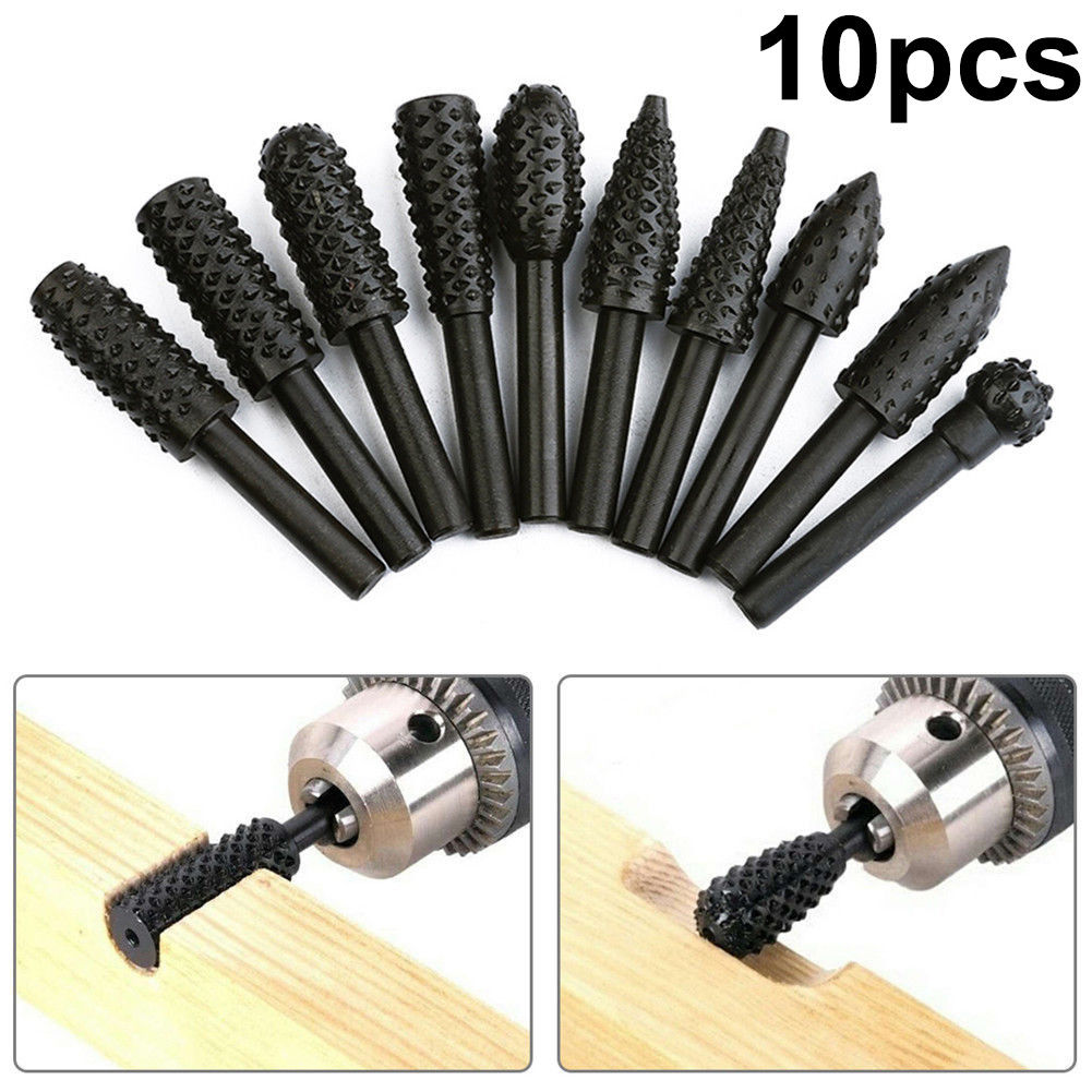 10-pack Steel Rotary Burr Set 1/4 Inch 6mm Shank Wood Grinding Rasp Drill Bits