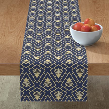 Image of Table Runner 1920S Geometric Navy And Gold Pattern Decor Art Deco Cotton Sateen