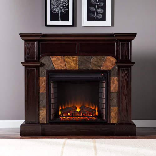 Southern Enterprises Barkley Electric Convertible/Corner Electric Fireplace, Espresso with Faux Slate