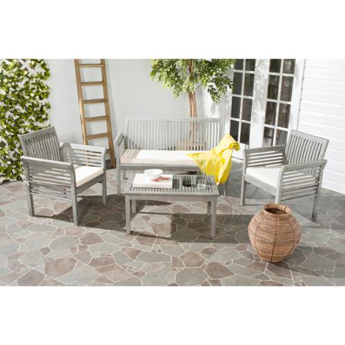 Safavieh Carson Grey Wash Acacia Wood 4 Piece Outdoor Furniture Set    Safavieh Carson Grey Part 73