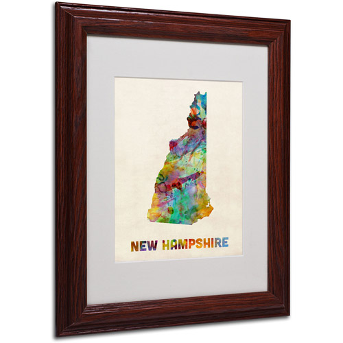 "Trademark Fine Art ""New Hampshire Map"" Matted Framed Art by Michael Tompsett, Wood Frame"