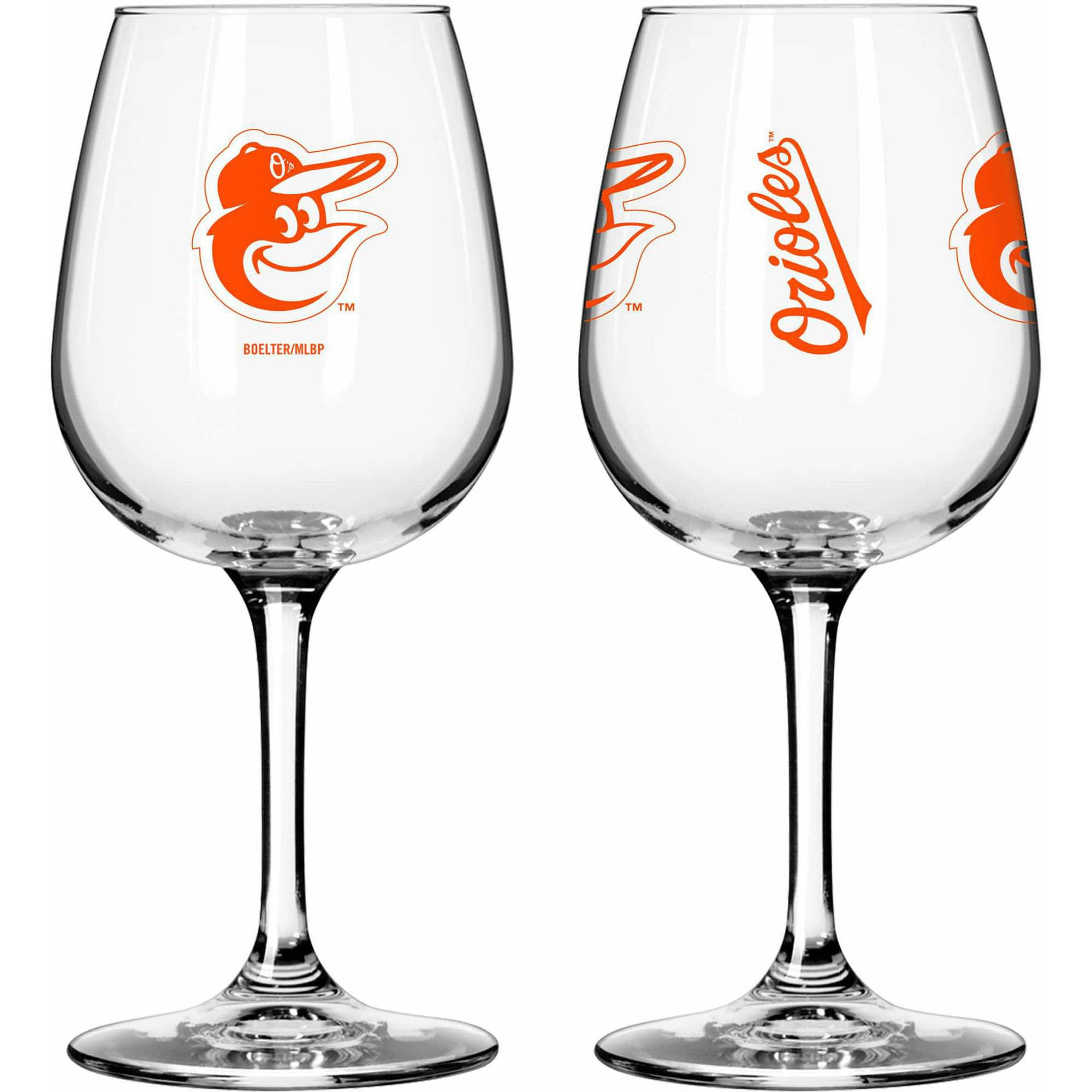Boelter Brands MLB Set of Two 12 Ounce Wine Glass Set, Baltimore Orioles
