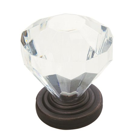 Teacup Knob - Traditional Classics 1-1/4 in (32 mm) Diameter Clear/Oil-Rubbed Bronze Cabinet Knob