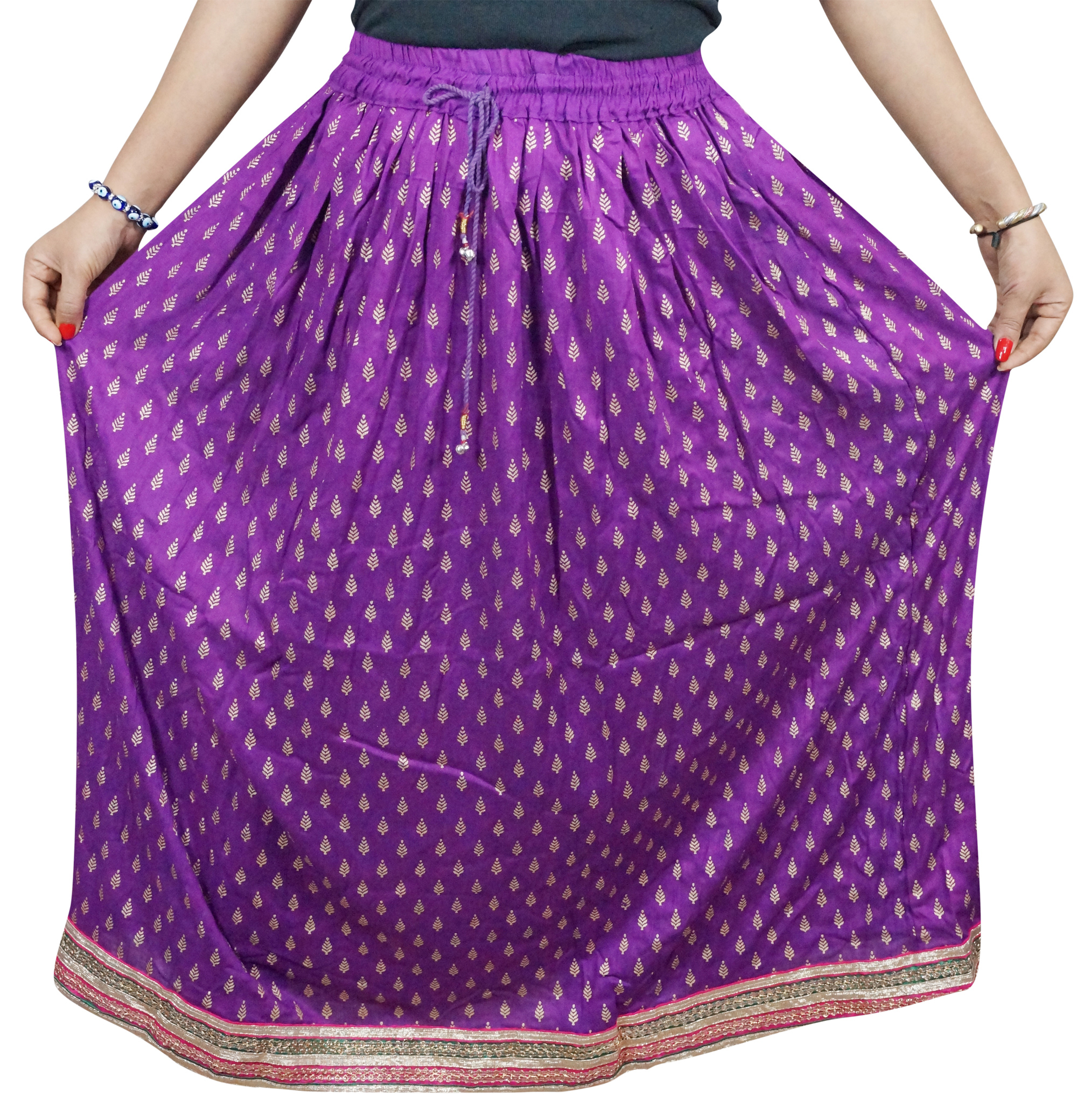 Mogul Women's Summer Skirt A-Line Purple Rayon Boho Chic Long Skirts