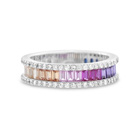 Silver Baguette Ring (Multicolored Cubic Zirconia Baguette Border Ring in Sterling)