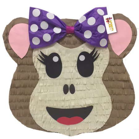 Monkey Pinata - APINATA4U Girly Monkey Emoticon Pinata with Purple Bow