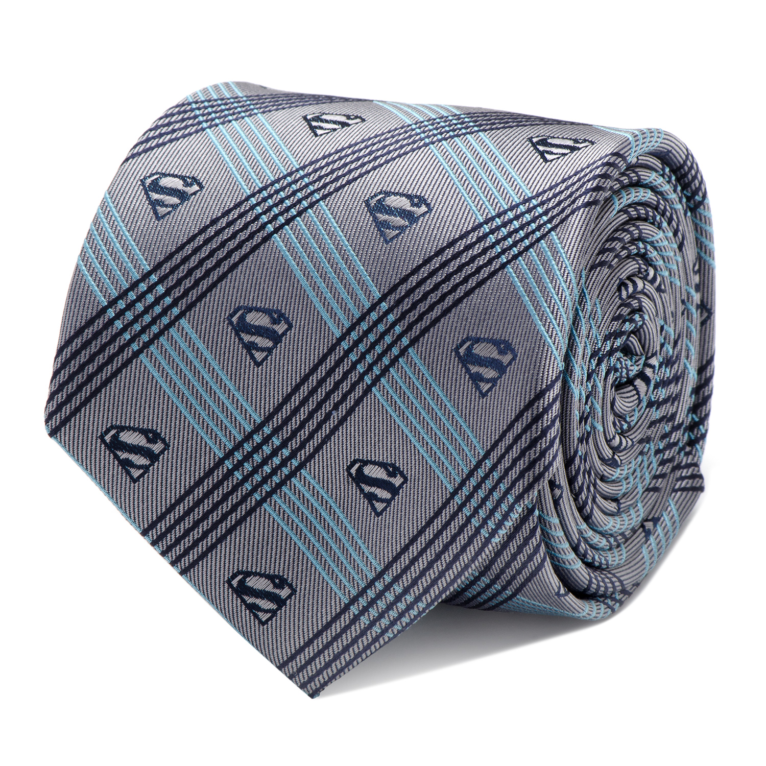 Men's Cufflinks Inc Superman Logo Plaid Tie