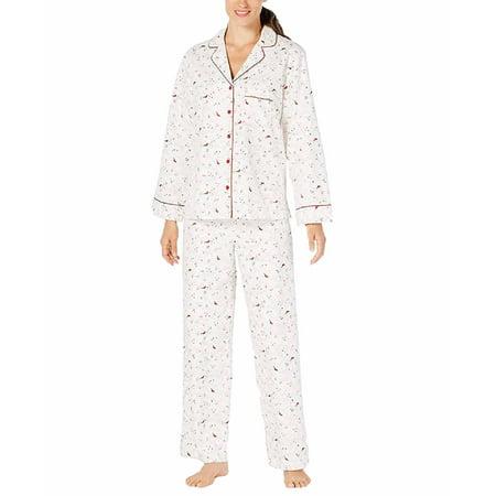 Charter Club Printed Cotton Pajama Set (Cardinal, (Charter Club 2 Piece)