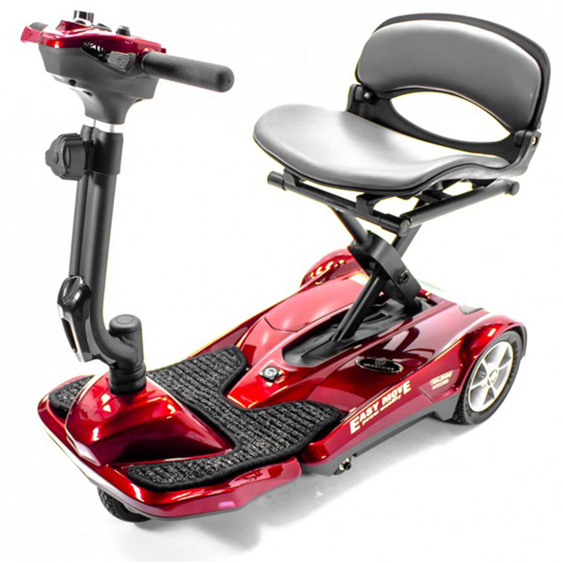 EV Rider Transport AF Automatic Folding Mobility Scooter, Burgundy Red, 3 Year Warranty