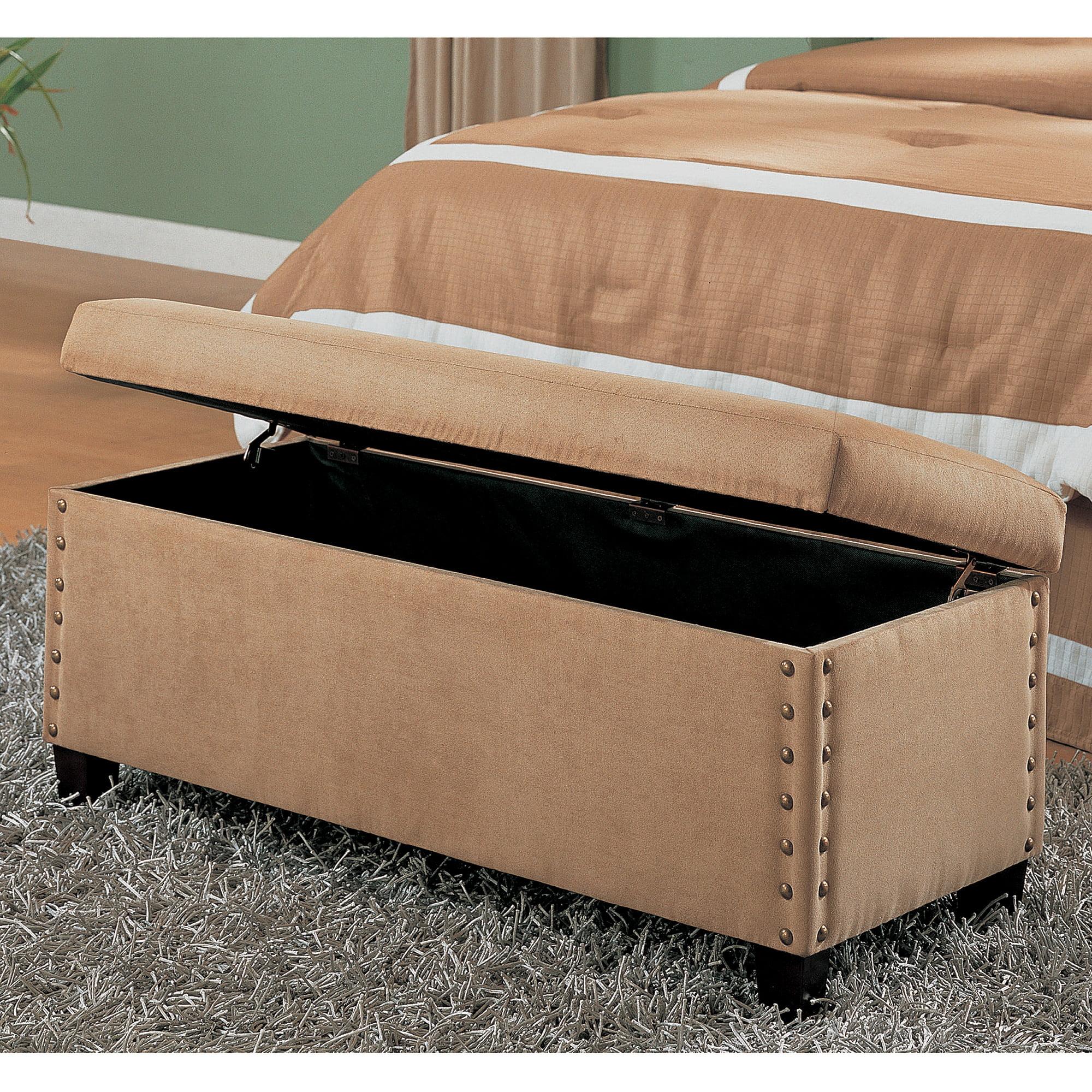 coaster upholstered storage bench beige  walmartcom -
