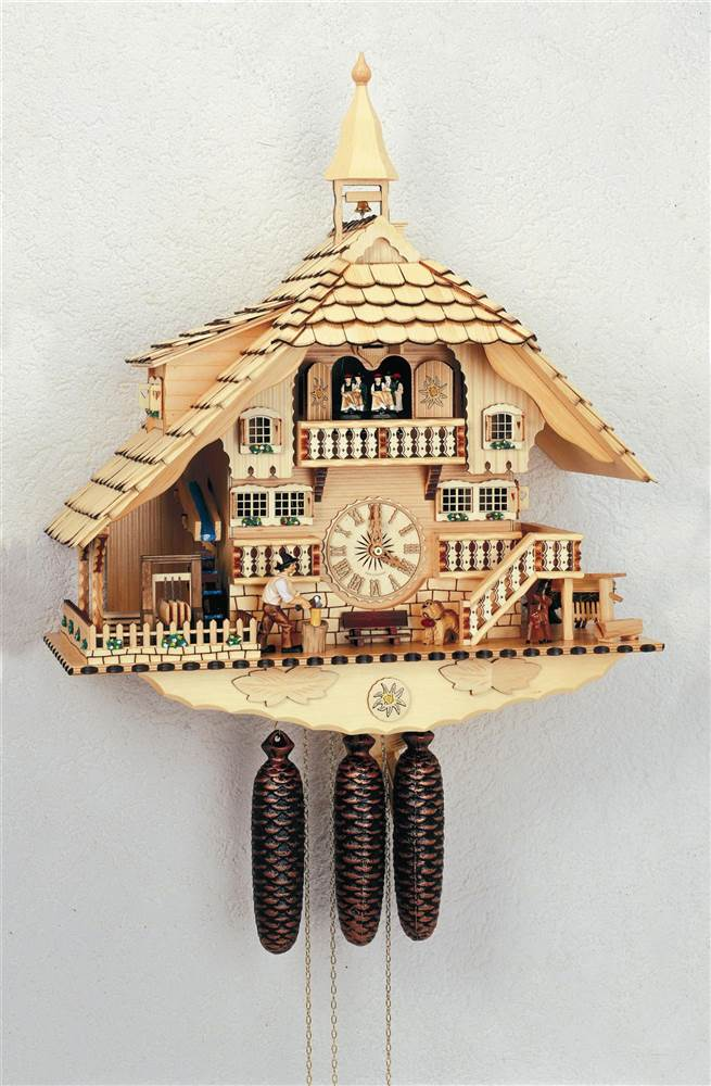 8-Day Wooden Cuckoo Clock in Natural Finish by Schneider Cuckoo Clocks