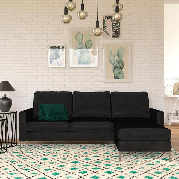 Novogratz Chapman Sectional Sofa with Chrome Legs, Black Velvet Couch