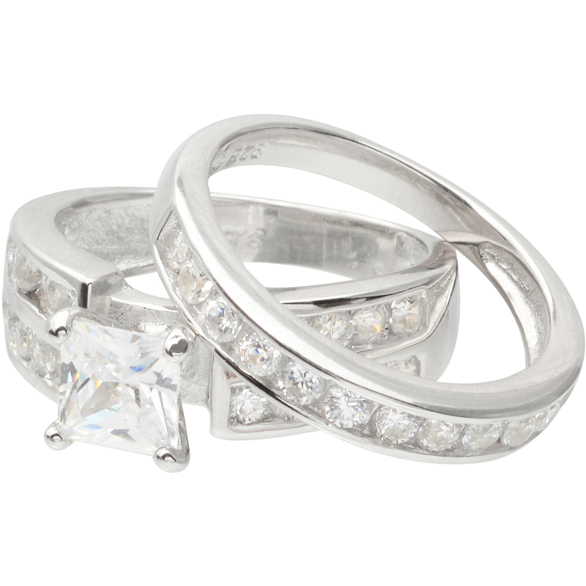 Alexandria Collection Sterling Silver 2-1/4 Carat T.G.W. Round Cubic Zirconia Bridal Ring Set