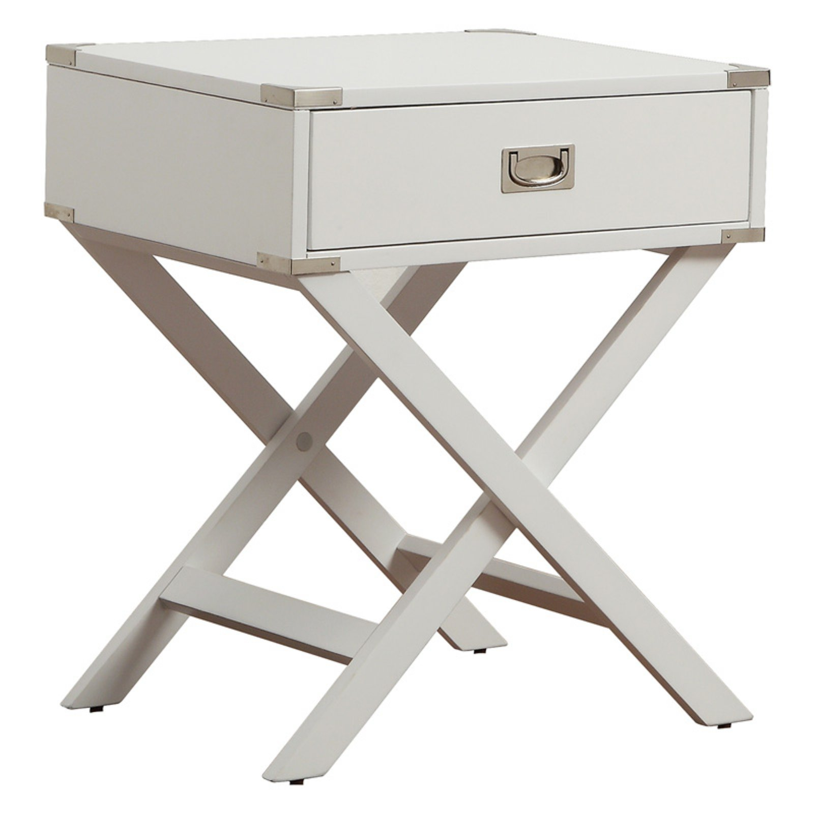 Weston Home Modern End Table with X based Table Legs, Multiple End Table Finishes