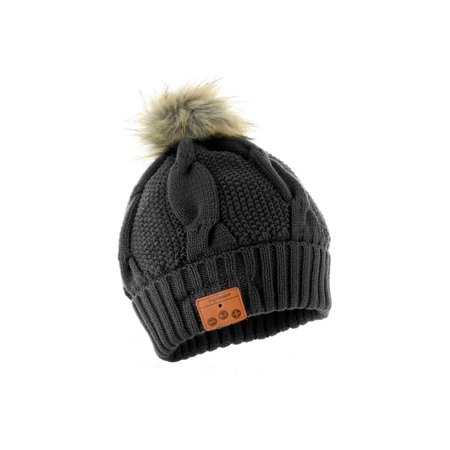 Tenergy Wireless Hands-Free Bluetooth Beanie with Pom-Pom (Black)