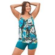 Swim 365 Women's Plus Size Blouson Tankini Top with Shirring
