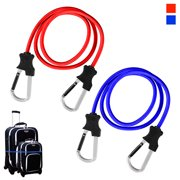 2PC Carabiner Bungee Cords with Hook Tie Downs Luggage Strap Carrying Bag Secure