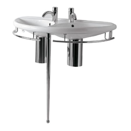 Polished Chrome Basin (38 in. China Series semi-circular double basin china console with chrome overflow, polished chrome towel rails and leg support-)
