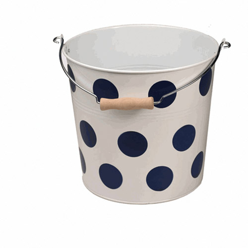 Neu Home Round Metal Bucket, Blue Dot