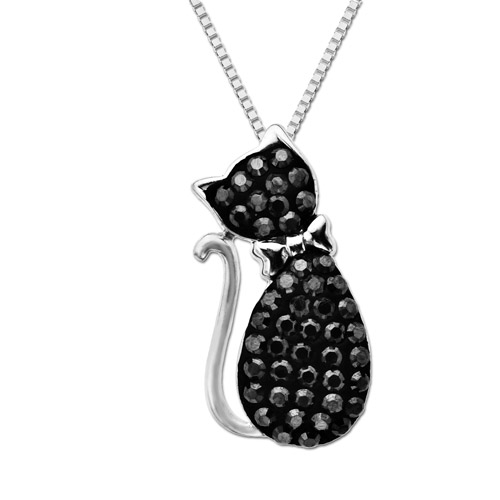 """Luminesse Sterling Silver Black Cat Pendant made with Swarovski Elements, 18"""""""