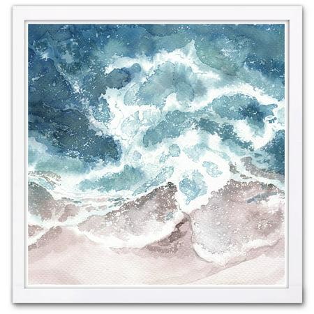 Wynwood Studio 'Seaside Waves' Nautical and Coastal Framed Wall Art Print - Blue, (Wynwood Fusion)