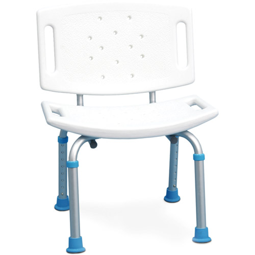 AquaSense Adjustable Bath and Shower Chair with Non-Slip Seat and Backrest, White
