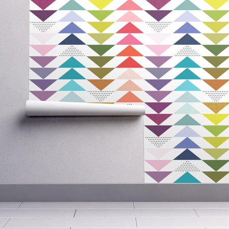 Removable Water-Activated Wallpaper Rainbow Rainbow Triangles Nursery Decor - Rainbow Triangle