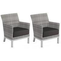Argento 2 Piece Wicker Patio Club Chair Set W/ Jet Black Cushions By Oxford Garden