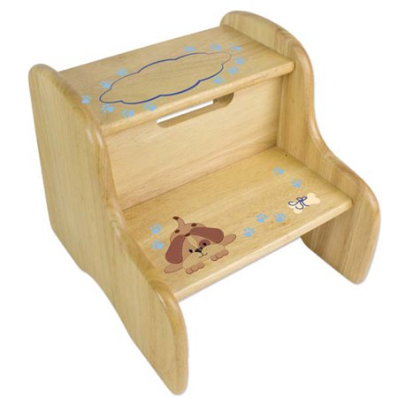 Enjoyable Personalized Blue Puppy Wooden Two Step Stool Gmtry Best Dining Table And Chair Ideas Images Gmtryco
