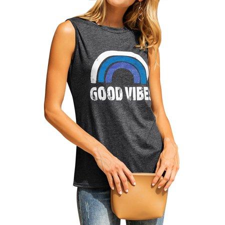 STARVNC Women Round Neck Sleeveless Letter Print Shirt Tank Tops