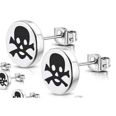 8mm Stainless Steel 2 tone Crossbones Skull Round Circle Stud Earrings Pair