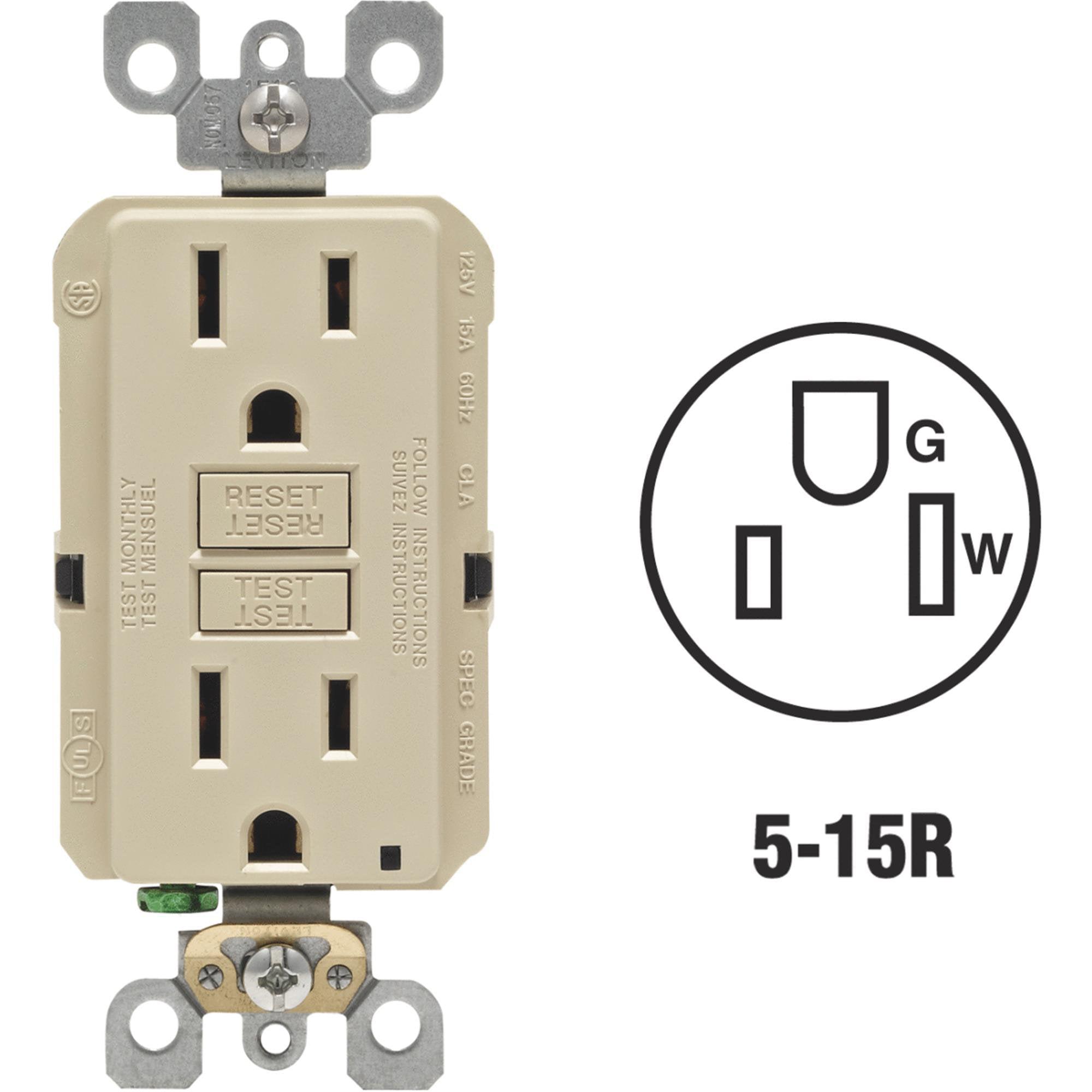 Leviton SmartLockPro Self-Test Rounded Corner GFCI Outlet