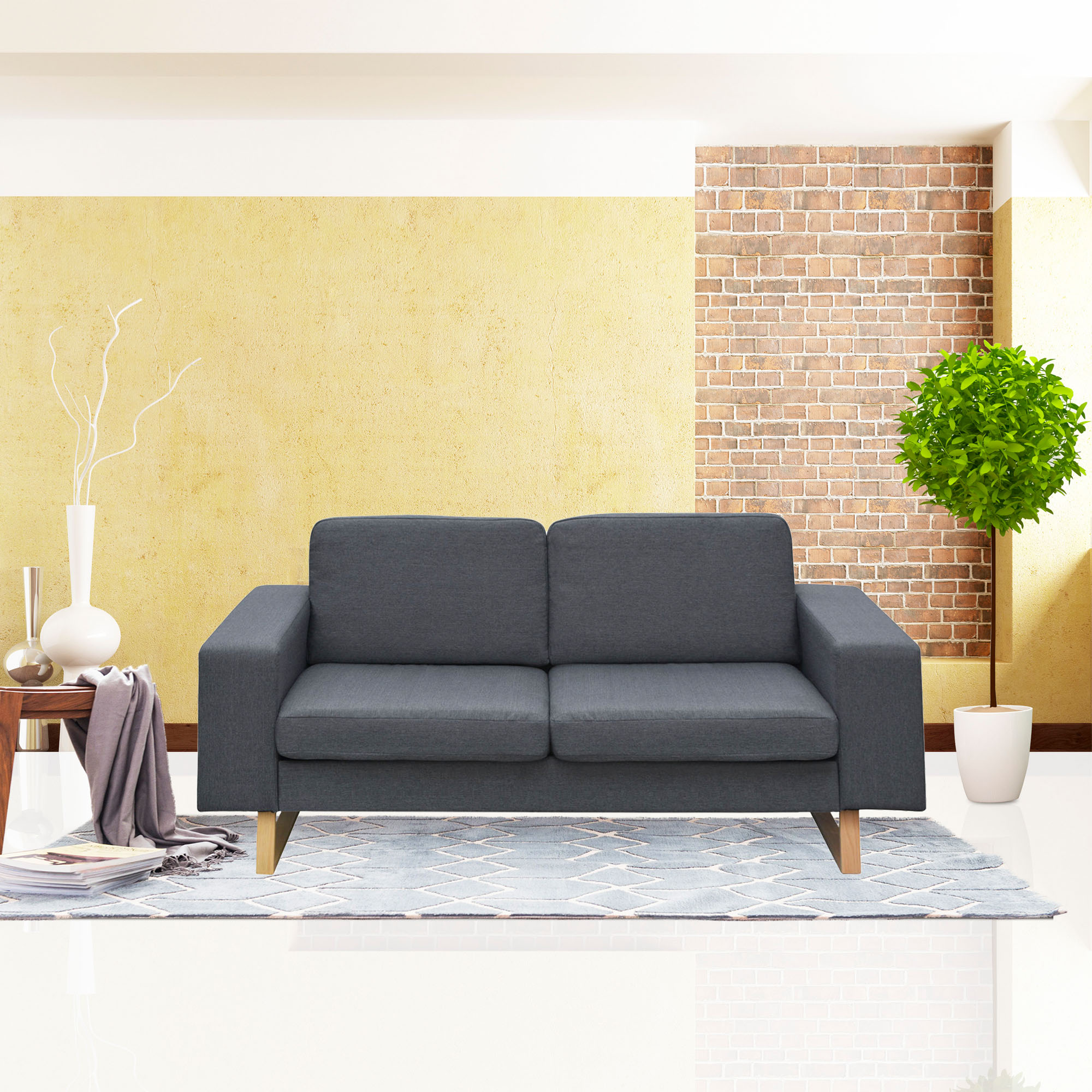 Cloud Mountain Fabric Loveseat Living Room Sofa Couch with Cushion, Dark Gray by Cloud Mountain
